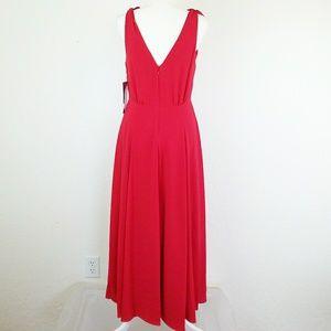 Betsy Johnson Pebble Crepe Midi Red Dress